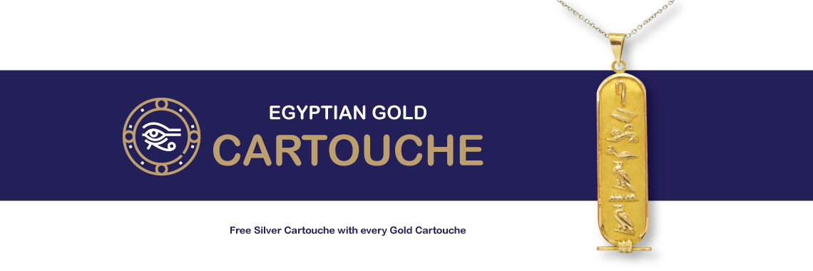EGYPTIAN GOLD CARTOUCHE JEWELRY