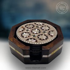 Mother of Pearl Inlaid Coasters in Dark Beech Wood