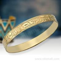 18k Gold Flat Egyptian Pattern Bangle