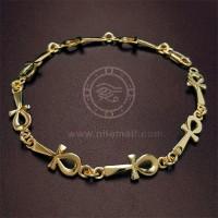 18k Gold Ankh key Link  Bracelet