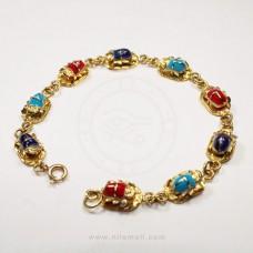 18k Gold Scarab Link Bracelet with Multicolor Stones