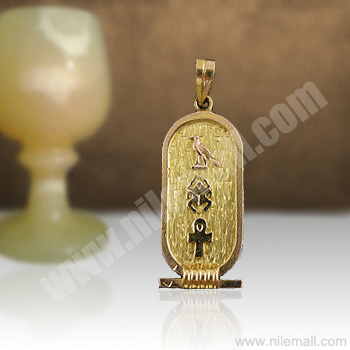 18k Gold Wide Cartouche with Notched Background