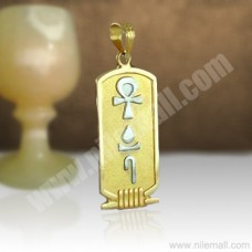 18k Gold Double Sided Cartouche with White Gold Symbols
