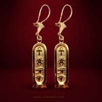 18k Gold Cartouche Earring with Ancient Egyptian Symbols
