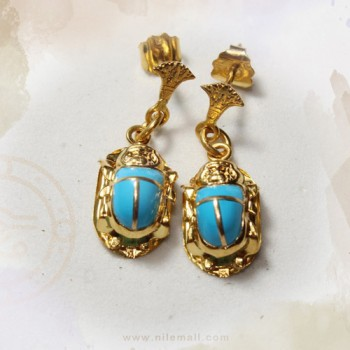 18k Gold Scarab Earring with Turquoise Stone