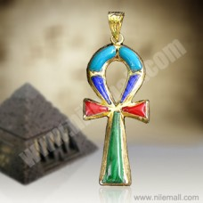18k Gold Ankh Key Pendant with Multi-colored Stones