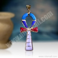 18K Gold Colorful Ankh key Pendant Decorated with Colored Enamel