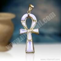 18K Gold Ankh Key Pendant Decorated with White Enamel