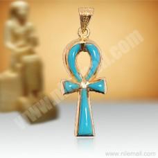 18K Gold Ankh Key Pendant Decorated with Turquoise Stones