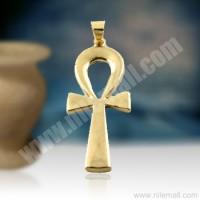 18K Gold Ankh Key Pendant