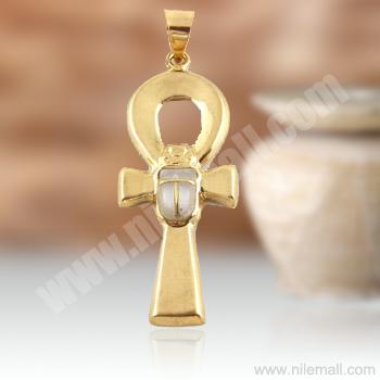 18K Gold Ankh Key Pendant with White Stone Scarab