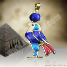 18K Gold Horus Pendant with Colored Enamel