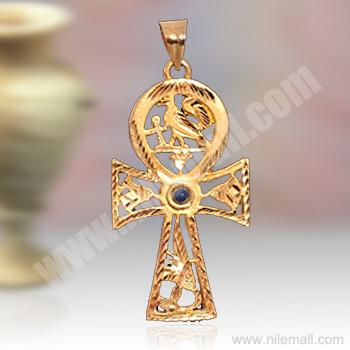 18K Gold Ankh Key Pendant with Lapis Stone
