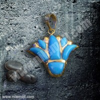 18K Gold Lotus Flower Pendant Filled with Blue Stones