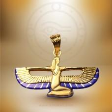 18K Gold Isis Pendant with Lapis Lazuli Stones