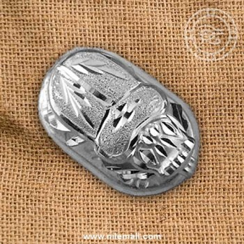Solid Silver Egyptian Scarab Pendant