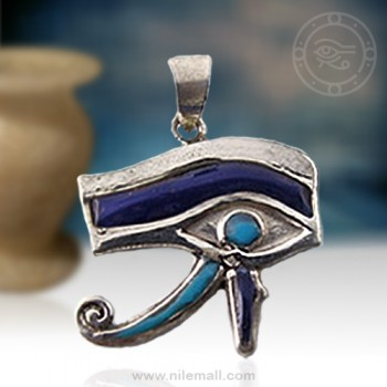 Silver Eye of Horus Filled with Colored Enamel Pendant
