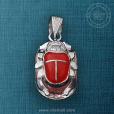 Silver Egyptian Scarab Pendant with Red Stone