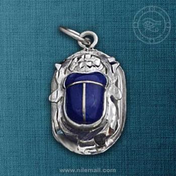 Royal Silver Egyptian Scarab Pendant with Lapis Stone
