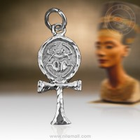 Silver Ankh Key Pendant with Engraved Scarab