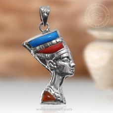 Nefertiti Silver Pendant with Red and Turquoise Stones