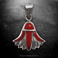 Silver Lotus Flower Pendant with Red Stones