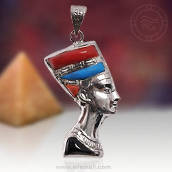 Double Face Silver Nefertiti Pendant with Red Turquoise and Black Stones