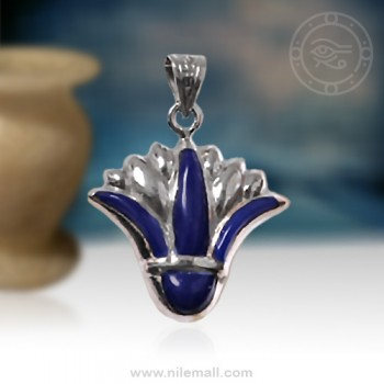 Dark Blue Silver Lotus Flower Pendant