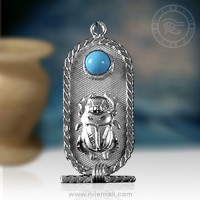 Silver Egyptian Scarab Pendant with Circular Turquoise Stone
