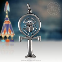 Simple Silver Scarab and Ankh Pendant