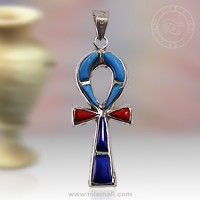 Silver Ankh Key Pendant with Red Dark Blue and Turquoise Stone