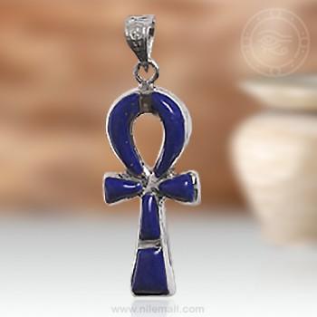 Dark Blue Ankh Key Silver Pendant